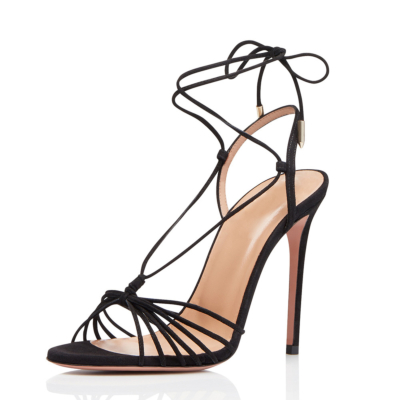 Black Strappy Stiletto 5 inch High Heel Sandals Shoes with Open Toe