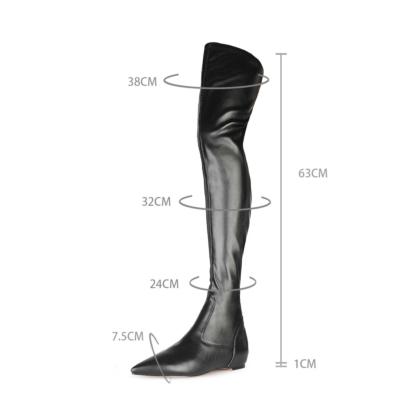Black Stretch Comfortable Flat Elastic Thigh High Boots