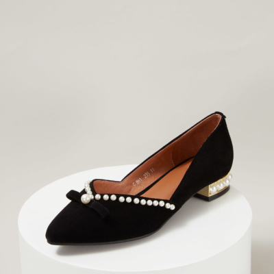 Black Suede Almond Toe Flats with Pearls Decor