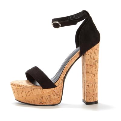 Black Suede Wooden Wedge Platform Sandals Heels Ankle Strap Sandal Chunky Heels