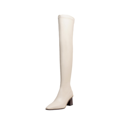 White Block Heel Thigh High Boots PU Square Toe Over The Knee Boots