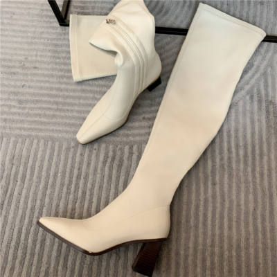 Block Heel Thigh High Boots PU Square Toe Over The Knee Boots