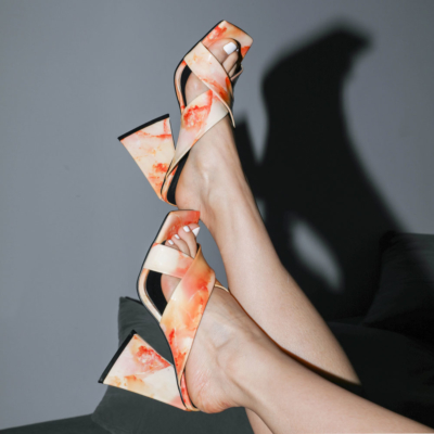 Block High Heel Cross Strap Slide Sandal Marble Print Square Toe Mules Shoes