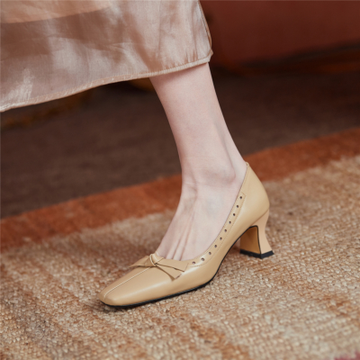 Nude Block Low Heel Comfy Wedding Shoes Closed Toe Pumps With Bow