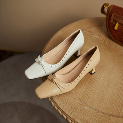 Block Low Heel Comfy Wedding Shoes Closed Toe Pumps With Bow