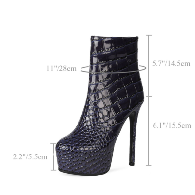 Blue Crocodile Embossed Round Toe Stiletto Tall Ankle Boots