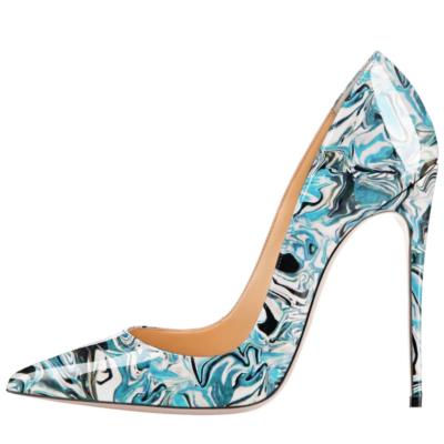 Blue Marble Prints Dresses Stilettos Pumps Wedding High Heel Shoes
