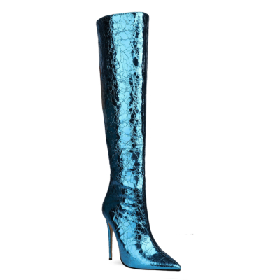 Blue Mirror Over-the-knee High Heel Boots with Back Zipper