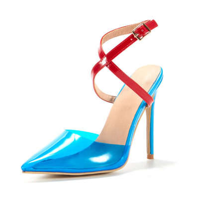 Blue&Red Clear Criss Cross Dress Heels D'orsay Pumps with Pointed Toe