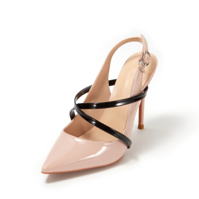 Blush Patent Leather Criss-Cross Stiletto Heel Slingback Dancing Pumps