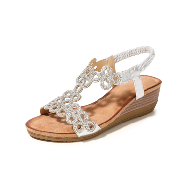 Silver Bohemia Hollow-out Crystal T-Strap Ankle Strap Wedge Sandals