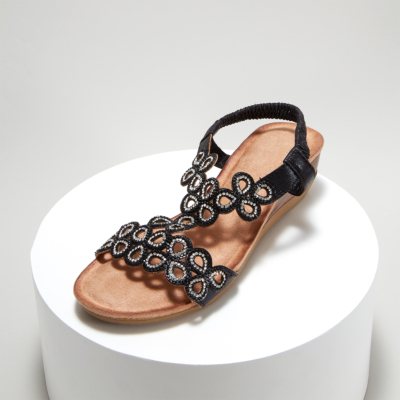 Bohemia Embellished T-Strap Ankle Strap Wedge Sandals