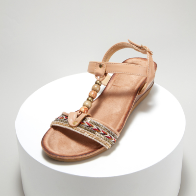 Nude Bohemia Beads Embellished T-Strap Ankle Strap Wedge Sandals