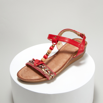 Red Bohemia Beads Embellished T-Strap Ankle Strap Wedge Sandals