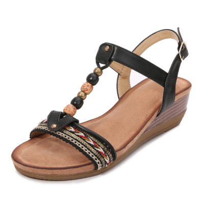 Black Bohemia Beads Embellished T-Strap Ankle Strap Wedge Sandals