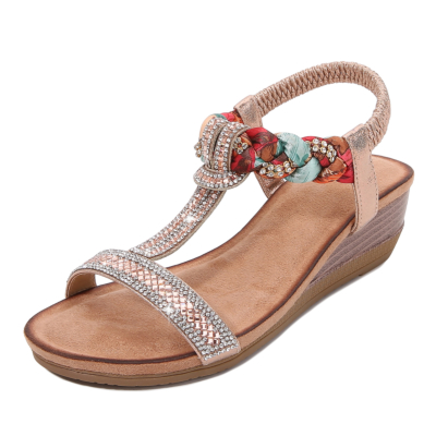Champagne Bohemia Embellished T-Strap Ankle Strap Wedge Sandals