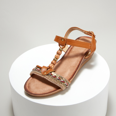 Brown Bohemia Beads Embellished T-Strap Ankle Strap Wedge Sandals