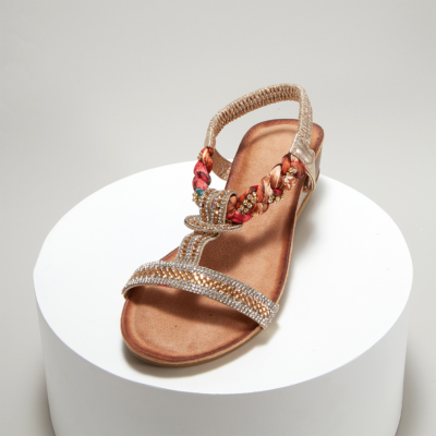 Gold Bohemia Embellished T-Strap Ankle Strap Wedge Sandals