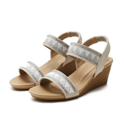 Beige Bohemia Rhinestones Open Toe Strap Wedge Sandals Shoes