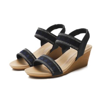 Bohemia Rhinestones Open Toe Strap Wedge Sandals Shoes