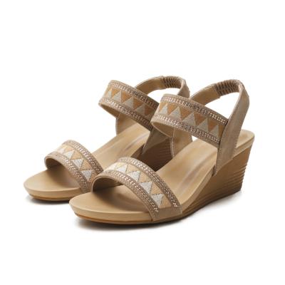Apricot Bohemia Rhinestones Open Toe Strap Wedge Sandals Shoes