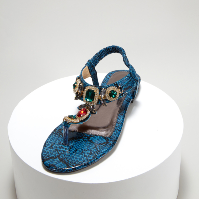 Blue Bohemia Snake-effect Colorful Crystals Women Flat Flip Flops