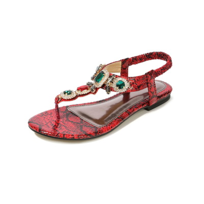 Red Bohemia Snake-effect Crystals Women Flat Flip Flops