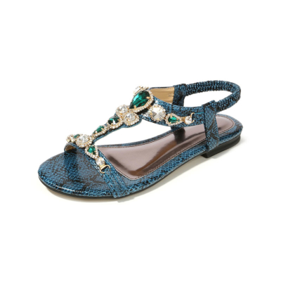 Blue Bohemia Snake-effect Crystals Women Flat Open Toe Sandals