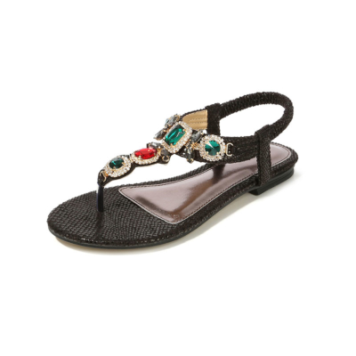 Black Bohemia Snake-effect Colorful Crystals Women Flat Flip Flops-style5