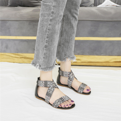 Black Bohemia Round Toe Studded Embelished Criss Cross Flats Zip Beach Sandals