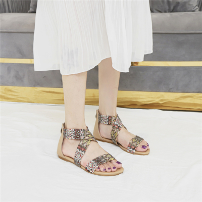 Muti-color Bohemia Round Toe Studded Embelished Criss Cross Flats Zip Beach Sandals