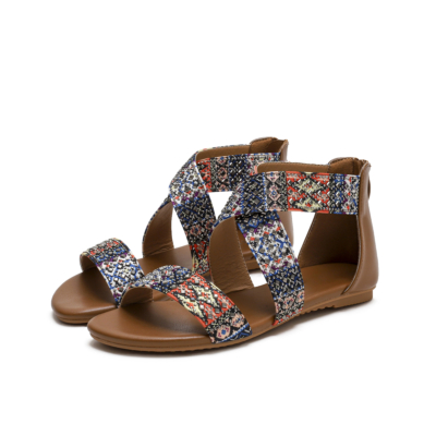 Bohemia Round Toe Studded Embelished Criss Cross Flats Zip Beach Sandals