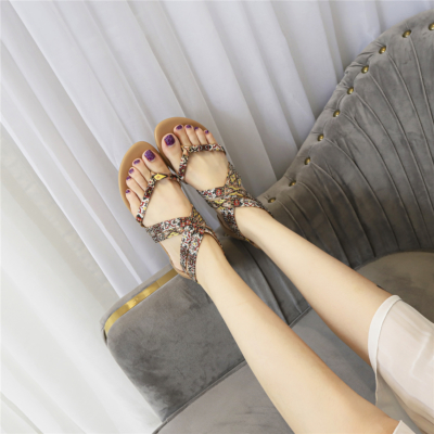 Muti-color Bohemia Studded Criss Cross Flats Flip Flap Gladiator Sandals