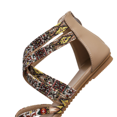 Bohemia Studded Criss Cross Flats Flip Flap Gladiator Sandals