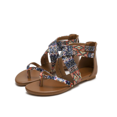 Brown Bohemia Studded Criss Cross Flats Flip Flap Gladiator Sandals