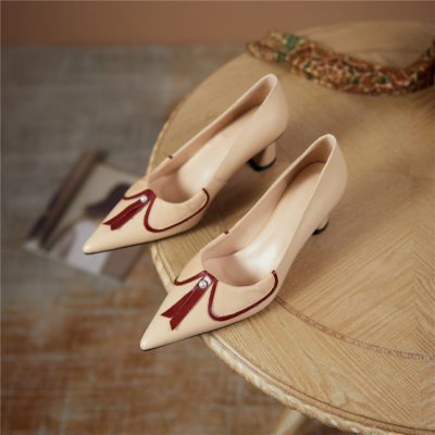 Nude Bow Pearls Low Vamp Leather Pointy Toe Pumps Block Heeled Shoes