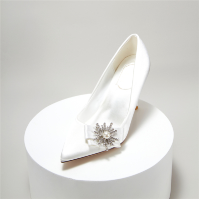 Bridal Crystal Embelishment Pumps Satin Pointy Toe Heeled Wedding Shoes