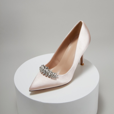 Champagne Bridesmaid Crystal Embelishment Satin Pointy Toe Heeled Wedding Shoes