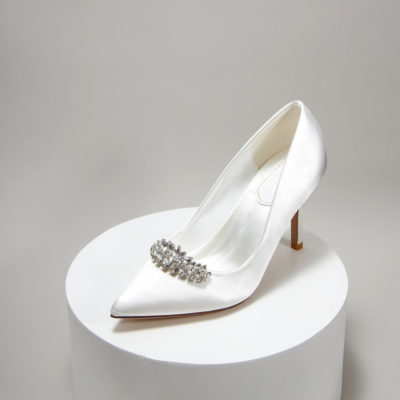 White Bridesmaid Crystal Embelishment Satin Pointy Toe Heeled Wedding Shoes