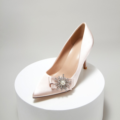 Champagne Bridal Crystal Pearl Embelishment Satin Pointy Toe Heeled Pump Shoes