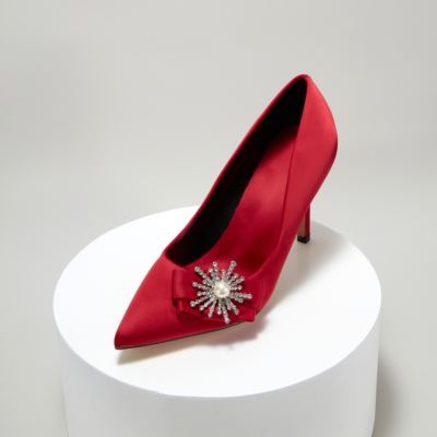 Red Bridal Crystal Pearl Embelishment Satin Pointy Toe Heeled Pump Shoes