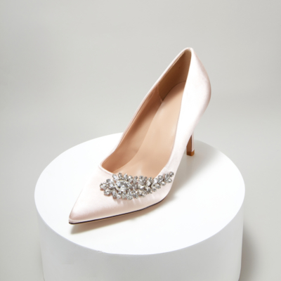 Champagne Wedding Crystal Embelishment Satin Pointy Toe Heeled Shoes