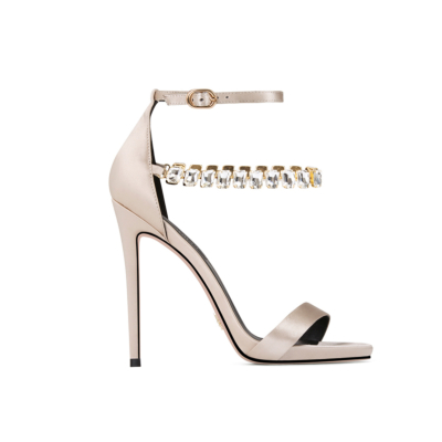 Silver Ankle Strap Satin Sandals Stiletto Heels Double Crystal Straps Shoes