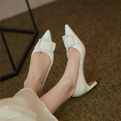White Bridal Low Block Heels Buckle Pumps Leather Comfy Dresses Shoes