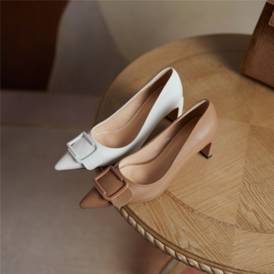 Bridal Low Block Heels Buckle Pumps Leather Comfy Dresses Shoes