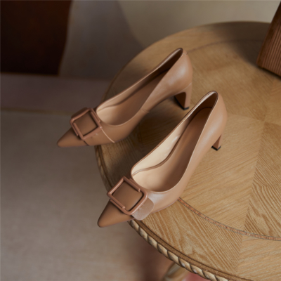 Nude Bridal Low Block Heels Buckle Pumps Leather Comfy Dresses Shoes