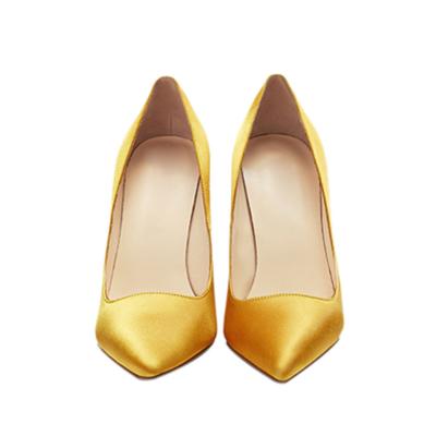 Yellow Bridal Satin Court Shoes 4 inches Stilettos Slip-On High Heel Pumps