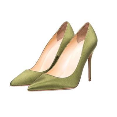 Bridal Satin Court Shoes 4 inches Stilettos Slip-On High Heel Pumps
