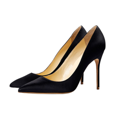 Black Bridal Satin Court Shoes 4 inches Stilettos Slip-On High Heel Pumps
