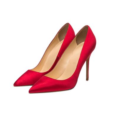 Red Bridal Satin Court Shoes 4 inches Stilettos Slip-On High Heel Pumps